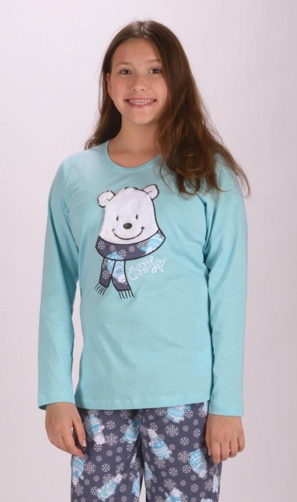 Dětské pyžamo dlouhé Medvídek - mentolová; 11 - 12