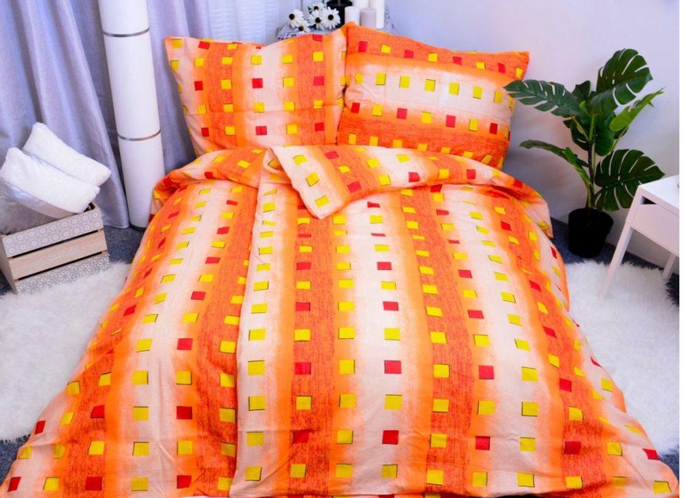 Bavlnené obliečky 140x200, 70x90 - Karla oranžová