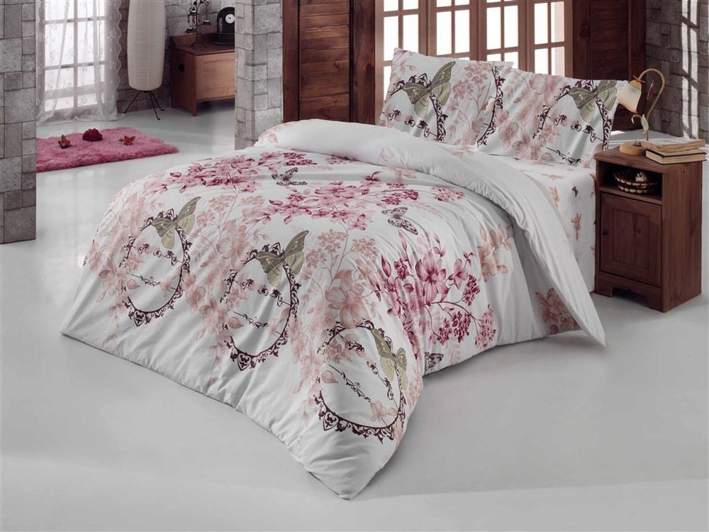 Brotex Bavlnené obliečky 200x200,70x90 Romantika biela