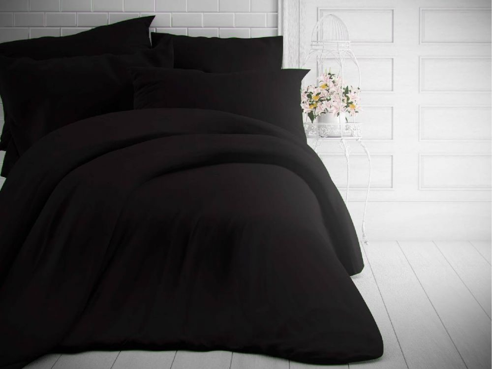 Kvalitex Jednofarebné bavlnené obliečky 140x200, 70x90cm čierne