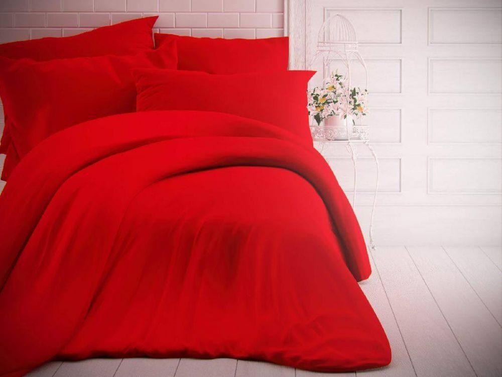 Kvalitex Jednofarebné bavlnené obliečky 140x200, 70x90cm červené