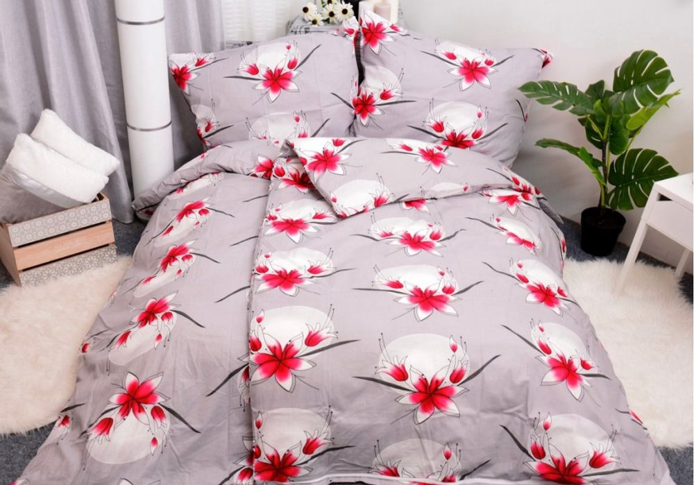 Bavlnené obliečky 140x200, 70x90 - Lily sivá