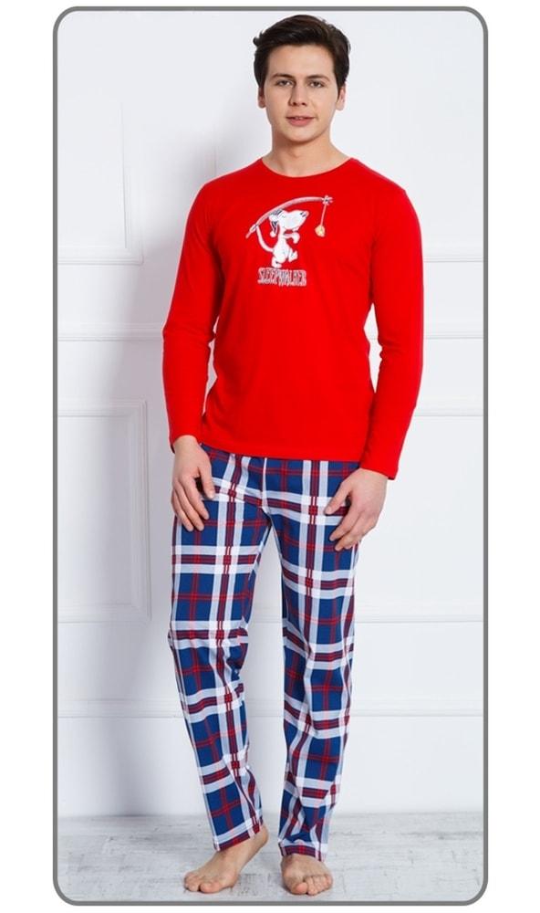 Pánské pyžamo dlouhé Sleepwalker - červená; XL