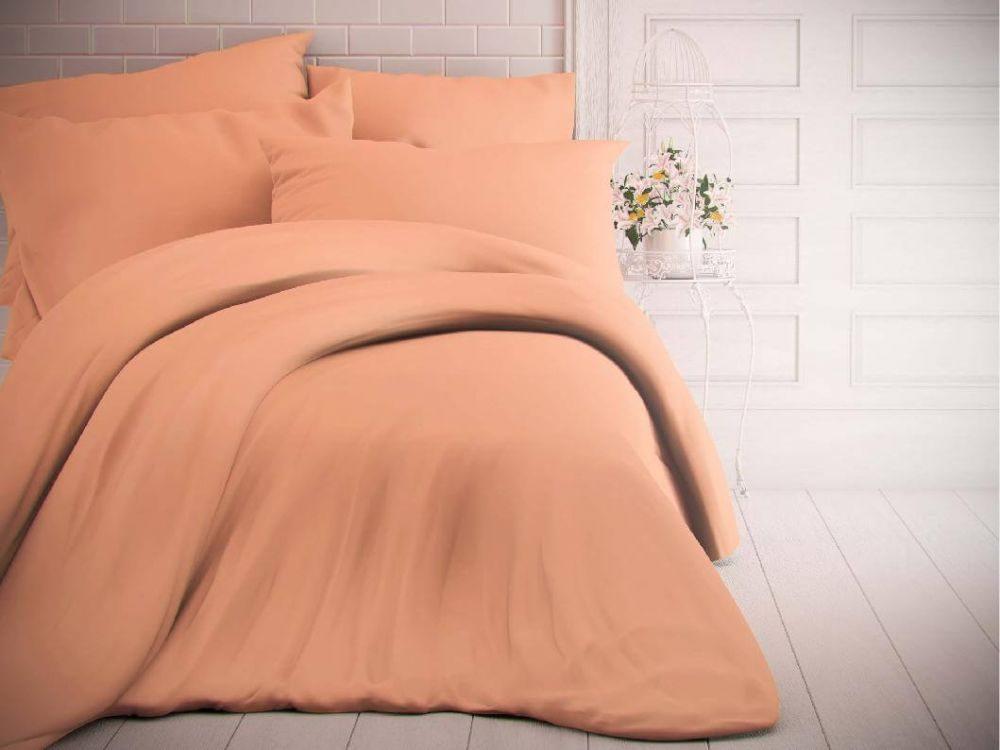 Kvalitex Jednofarebné bavlnené obliečky 140x200, 70x90cm lososové