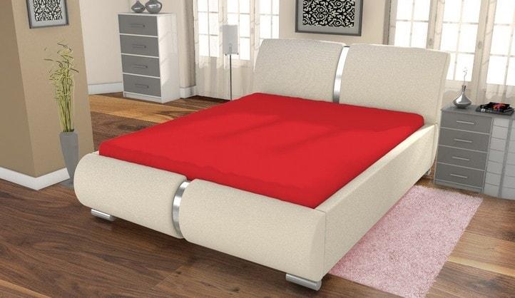 Jersey prestieradlo ECONOMY (180x200 cm) - Červená