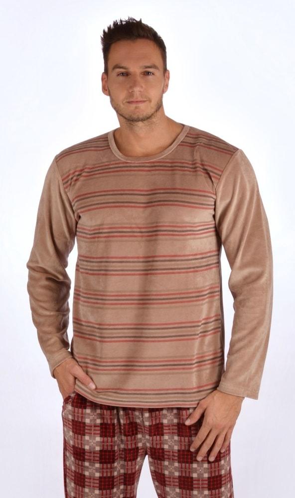 Pánské pyžamo dlouhé Tomáš - hnědá; M