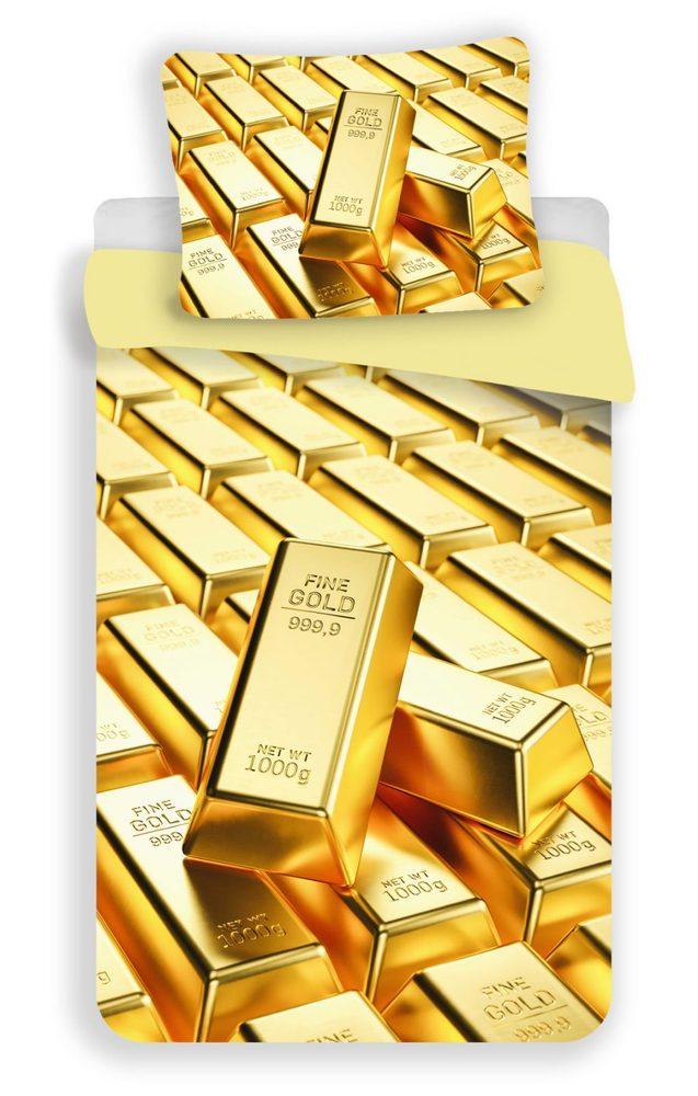 3D obliečky 140x200 + 70x90 - Gold