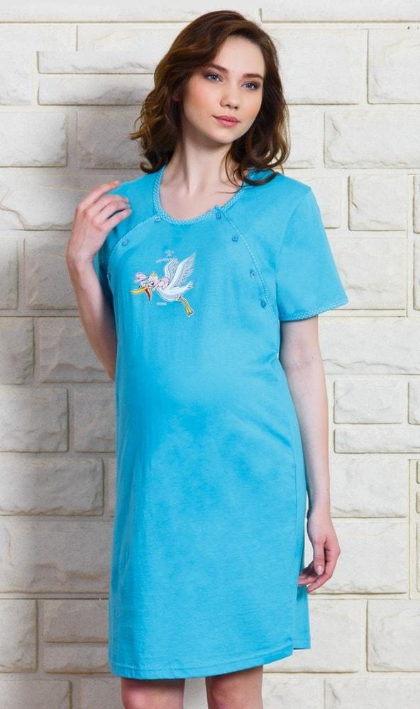 Dámská noční košile mateřská Čáp s čepicí - tyrkysová; S