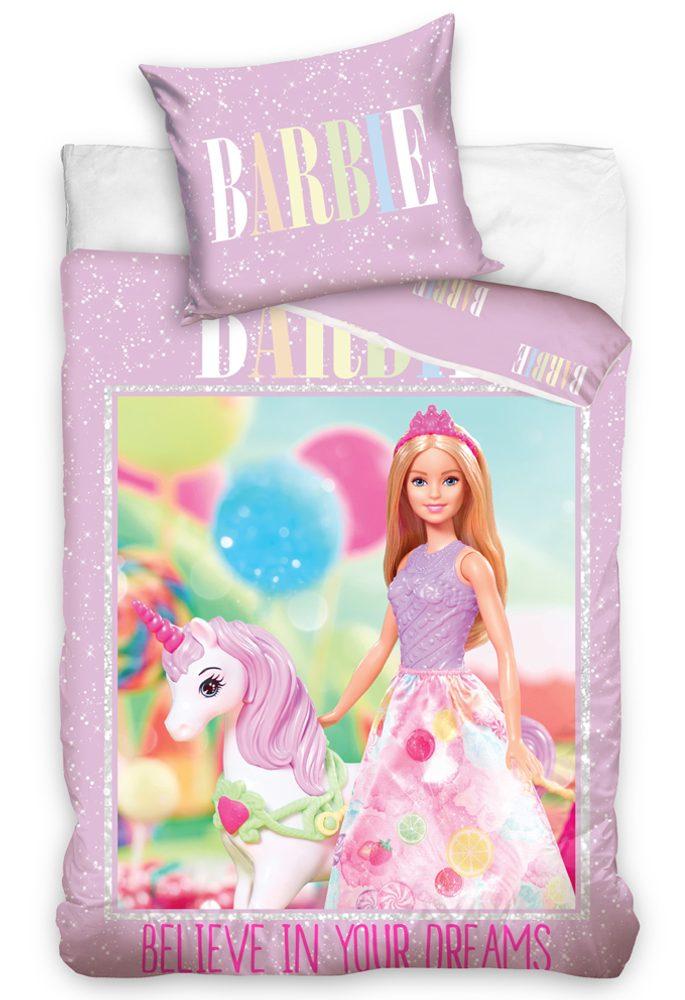 Bavlněné povlečení 140x200, 70x90 cm - Barbie a Jednorožec