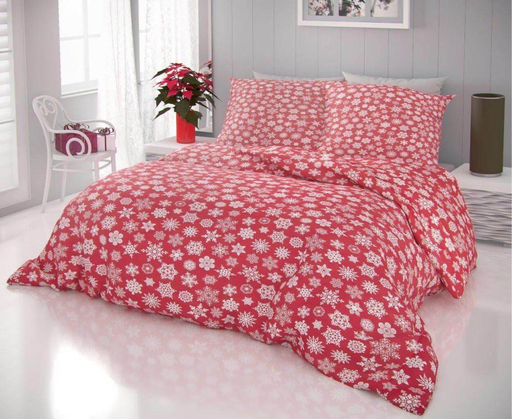 Kvalitex Vianočné obliečky 140x200, 70x90 cm VLOČKY na červenom
