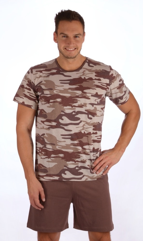 Pánské pyžamo šortky Army - hnědá; XXL