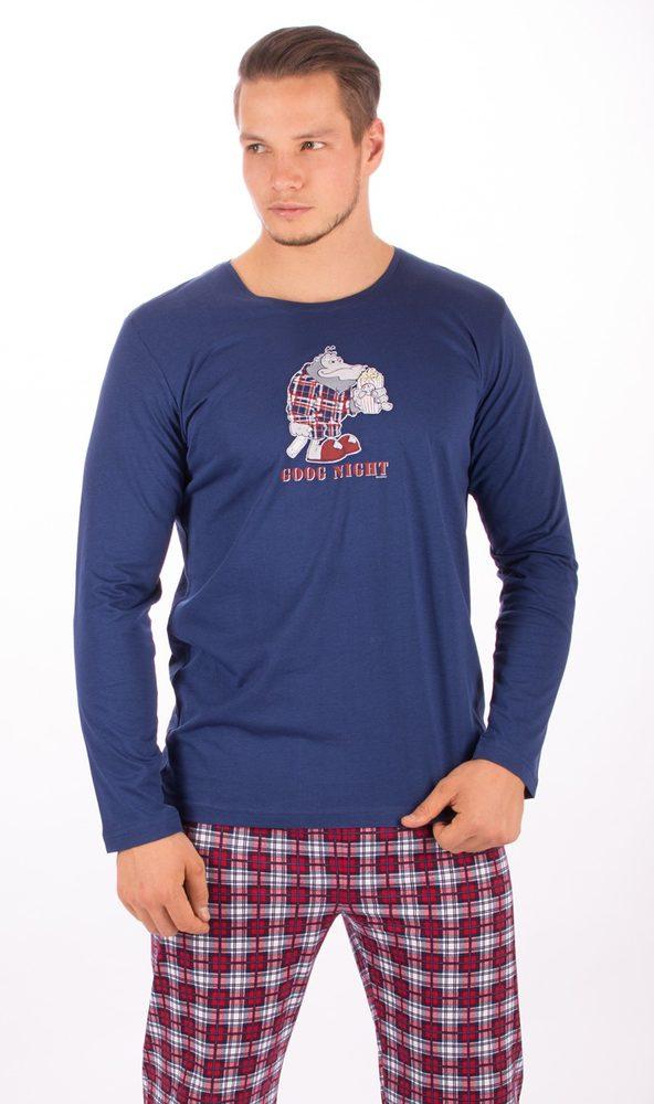 Pánské pyžamo dlouhé Opice s popcornem - tmavě modrá; 2XL