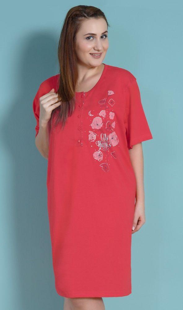 Dámská noční košile s krátkým rukávem Vlčí máky - červená; 1XL