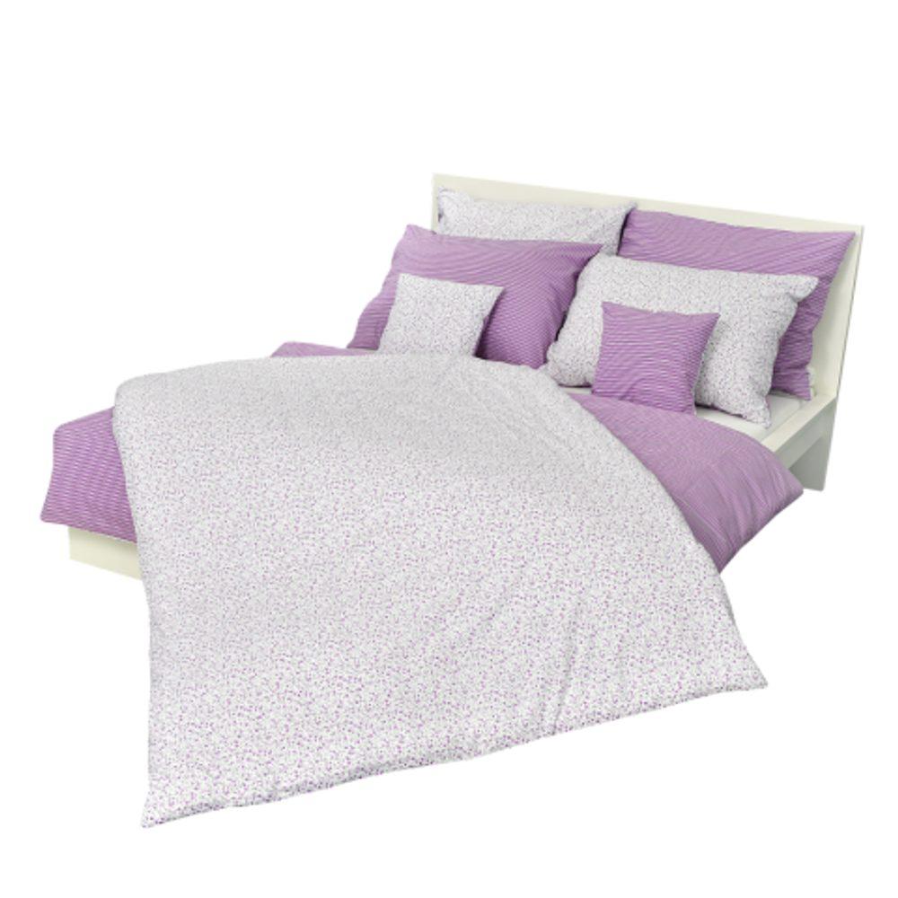 Stanex Krepové obliečky - kvietok-pruh fialový (LS196) - Ložní povlečení 140x200 + 90x70 - (LS196)