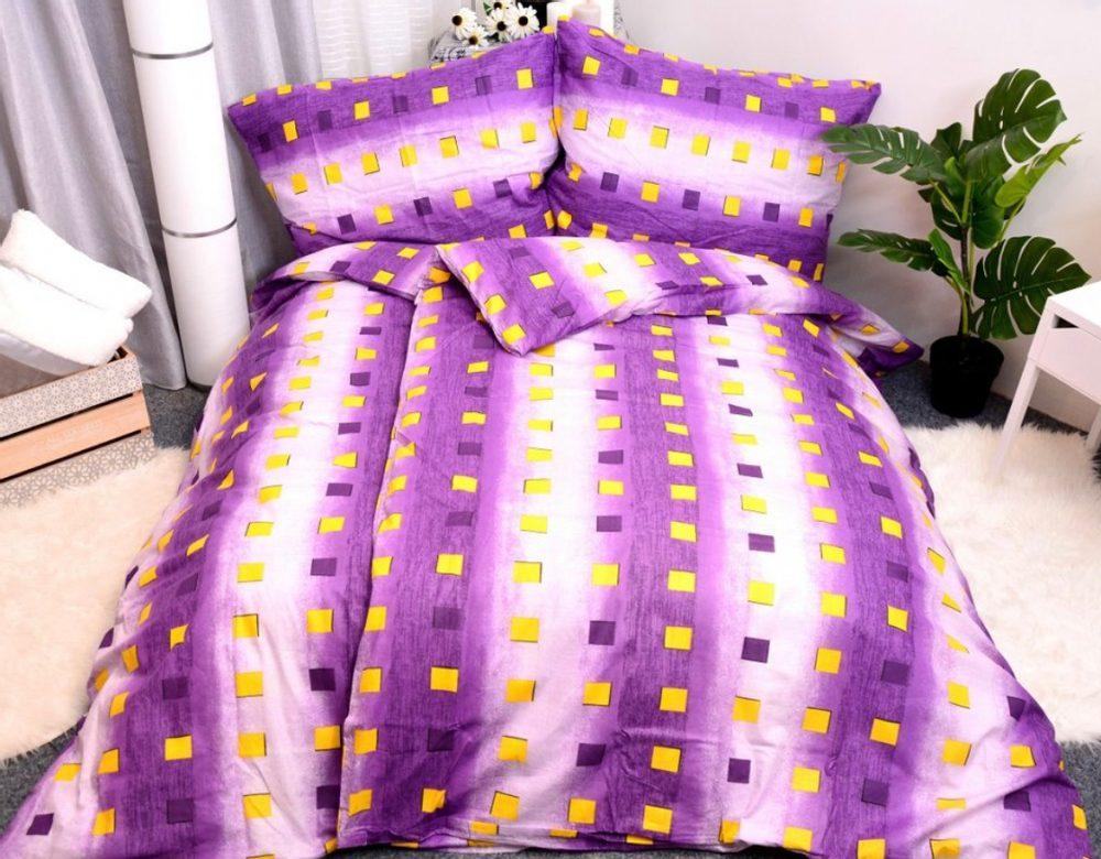 Bavlnené obliečky 140x200, 70x90 - Karla fialová