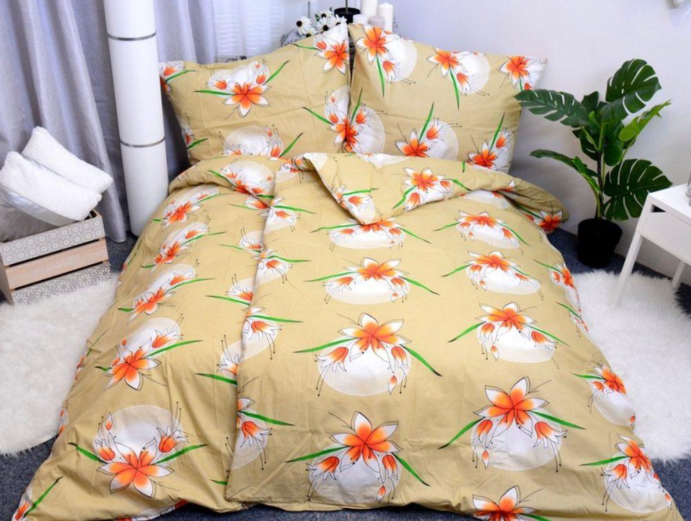 Bavlnené obliečky 140x200, 70x90 - Lily horčicová