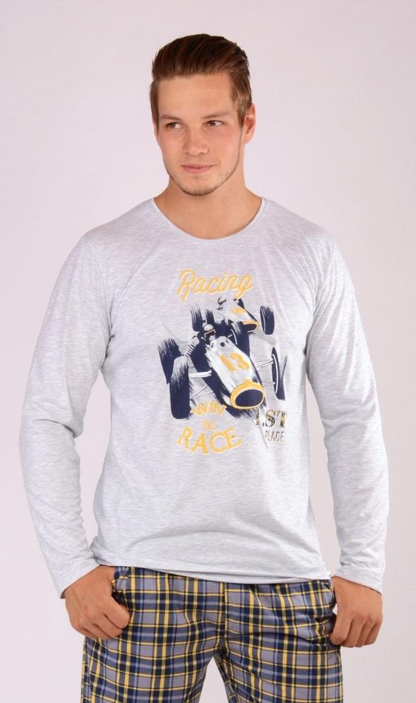 Pánské pyžamo dlouhé Závodní auto - světle šedá; 2XL