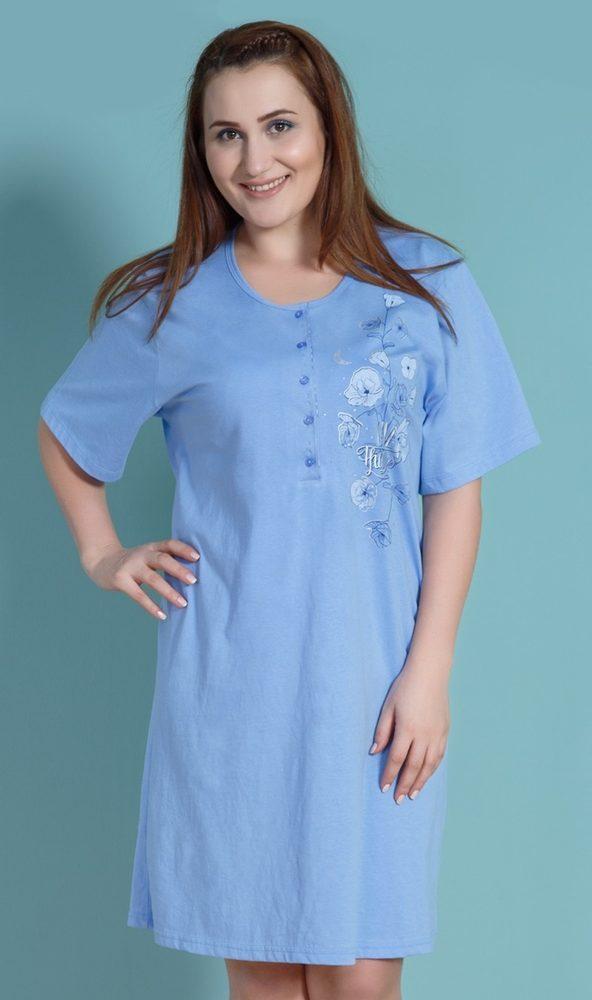 Dámská noční košile s krátkým rukávem Vlčí máky - modrá; 1XL
