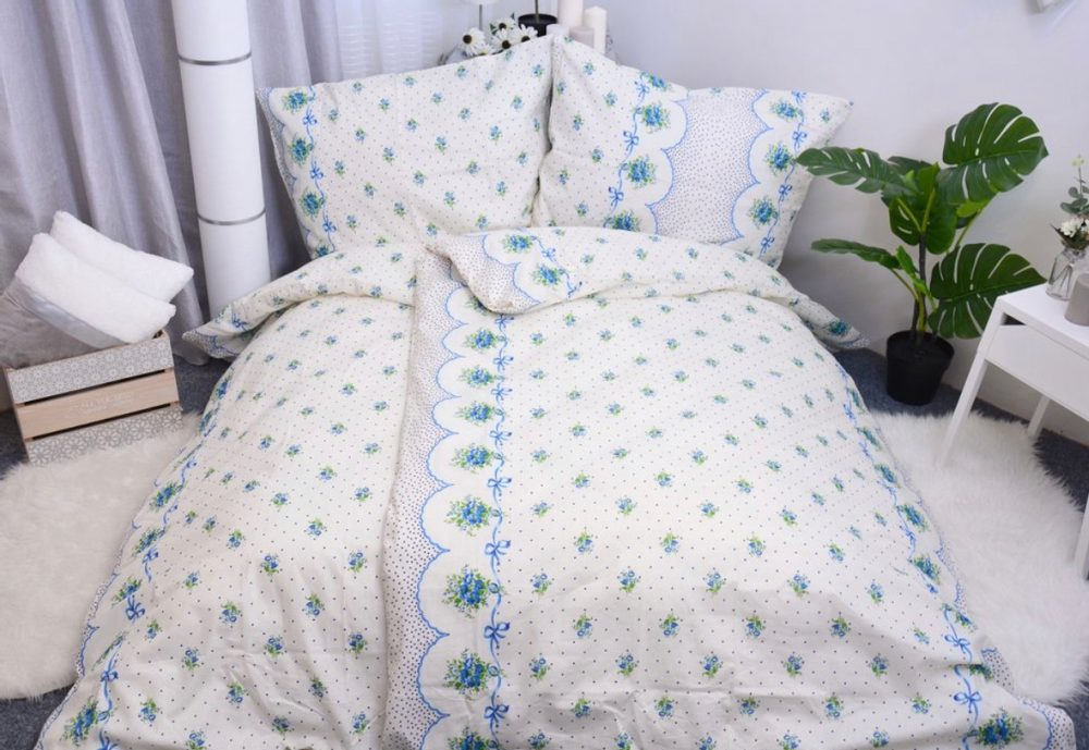 Bavlnené obliečky 140x200, 70x90 - Romance modrá