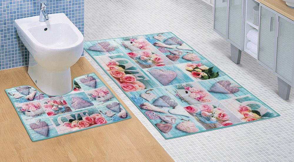 Koupelnová a WC předložka Patchwork tyrkysový 3D