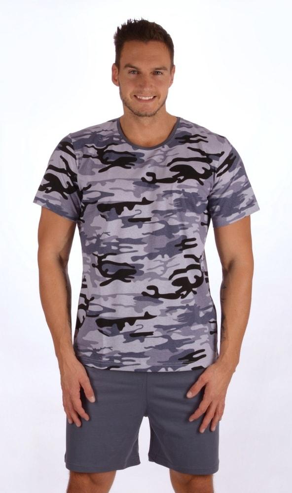 Pánské pyžamo šortky Army nadměr - šedá; 2XL