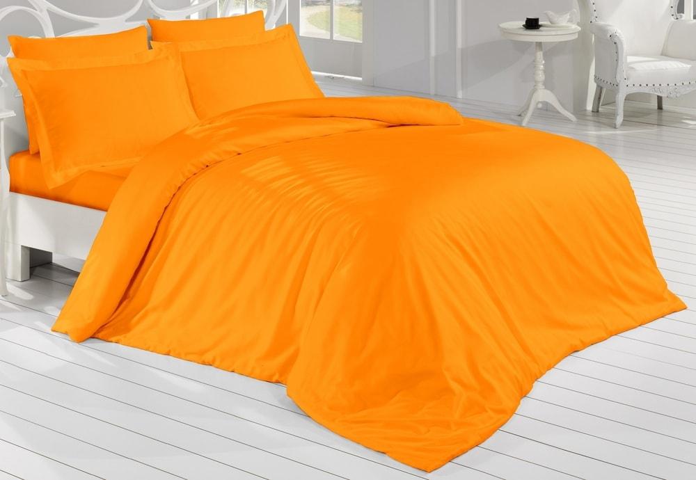 Saténové povlečení 140x200, 70x90 cm - oranžová