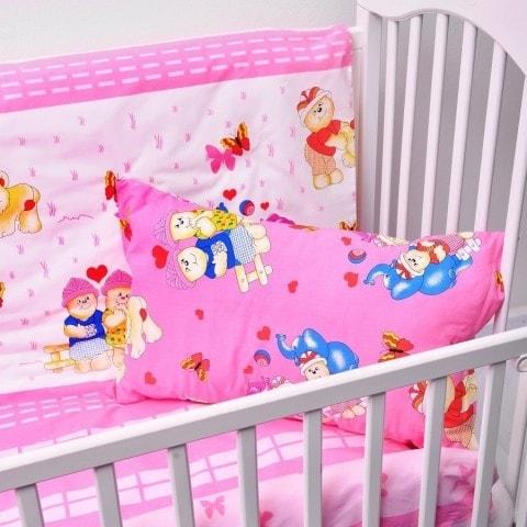 Dětské povlečení bavlněné šťastní medvídci - růžová (LS326) - Dětské ložní povlečení 135x95 + 40x60 - (LS326)