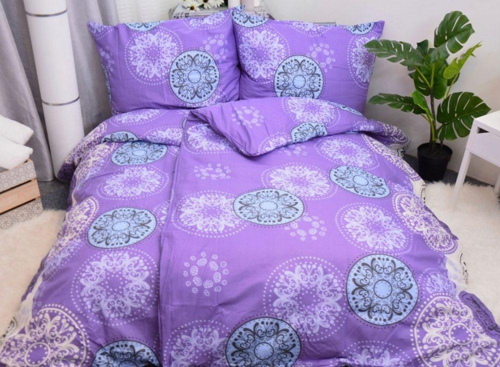 Bavlnené obliečky 140x200, 70x90 - Olivie fialová