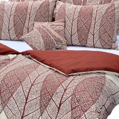 Stanex Bavlnené posteľné obliečky Listy hnedo-béžové (LS160)