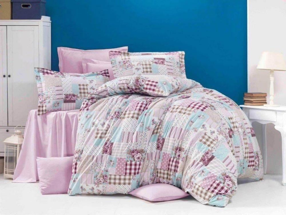 Kvalitex Klasické krepové obliečky 140x200, 70x90 cm PATCHWORK ružový