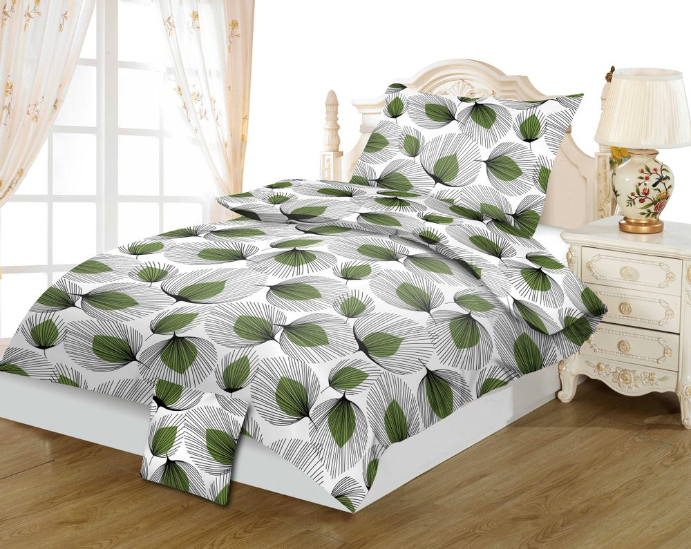 Bavlnené obliečky 3-dielne 140x200, 70x90 + 40x40 - Zelené lístky