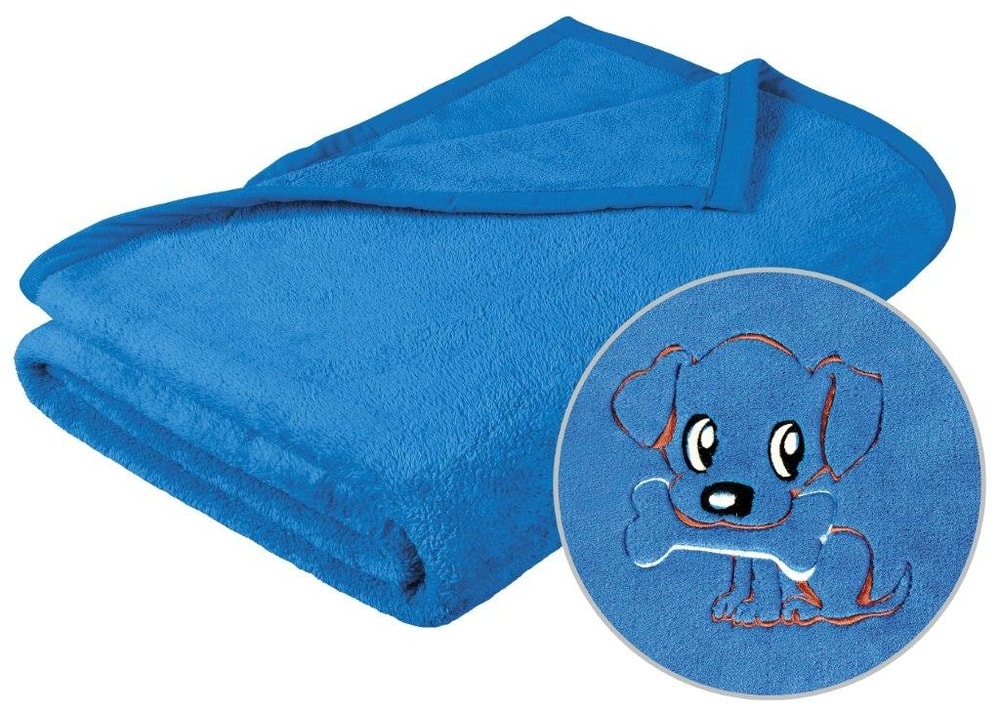 Brotex Detská micro deka 75x100 cm modrá s výšivkou