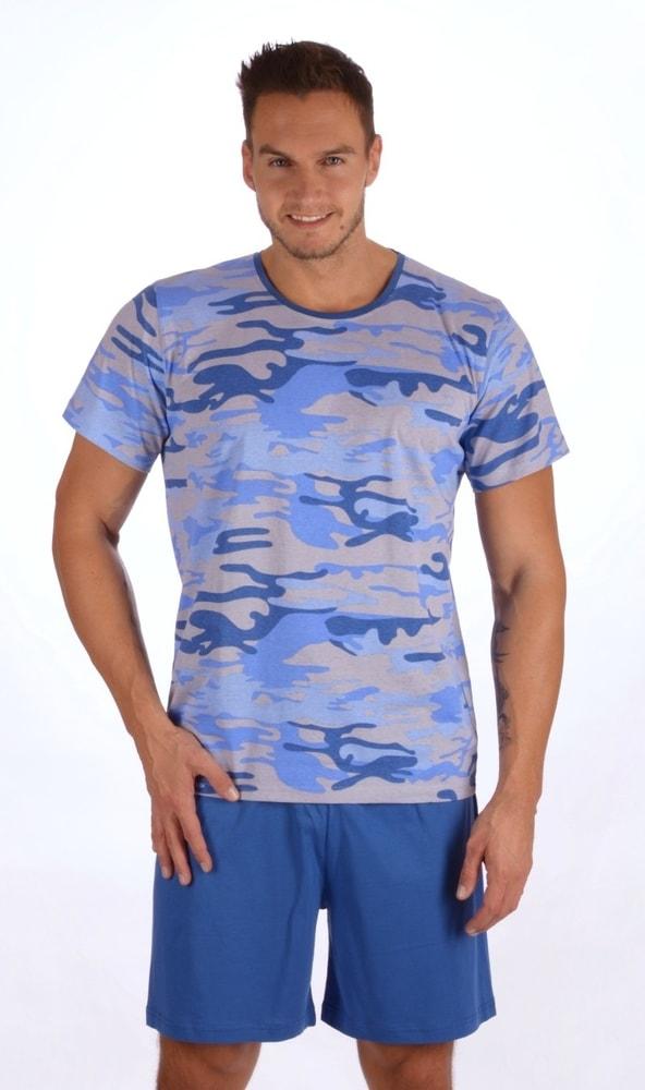 Pánské pyžamo šortky Army - modrá; XXL