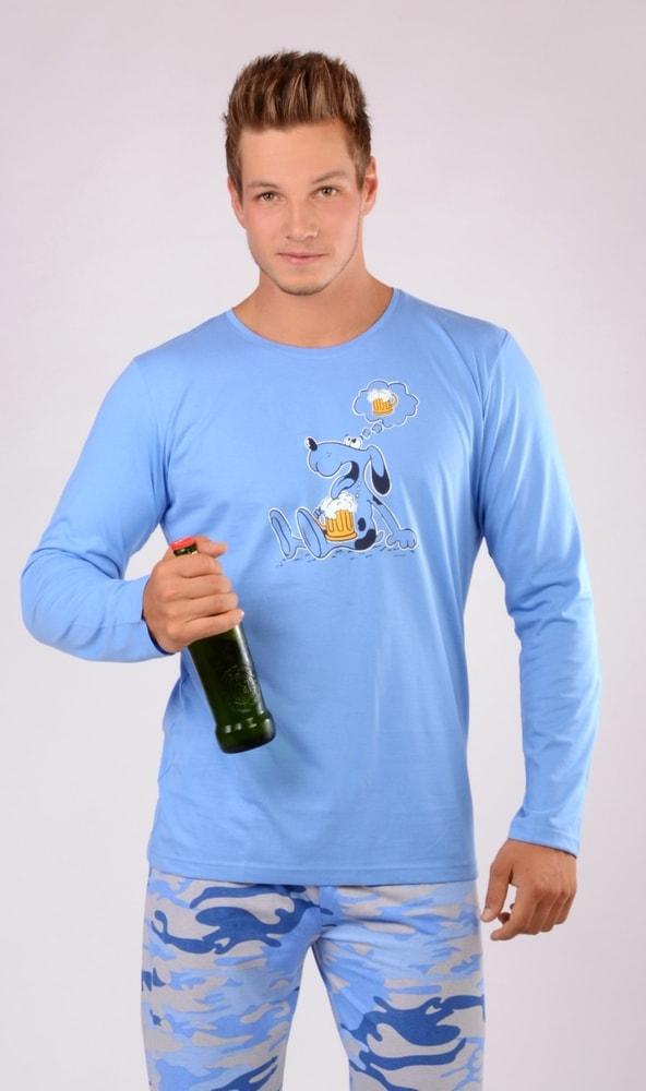 Pánské pyžamo dlouhé Pes s pivem - světle modrá; XL