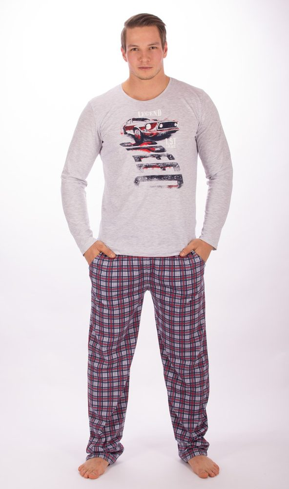 Pánské pyžamo dlouhé Auto Legend - šedá; 2XL