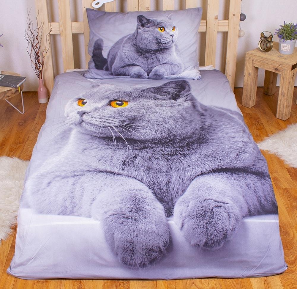 3D obliečky 140x200 + 70x90 - Šedá mačka