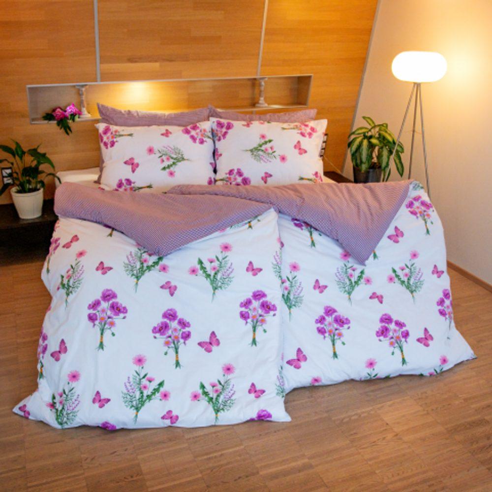 Stanex Bavlnené obliečky jar fialové (LS246) - Ložní povlečení 140x200 + 90x70 - (LS246)