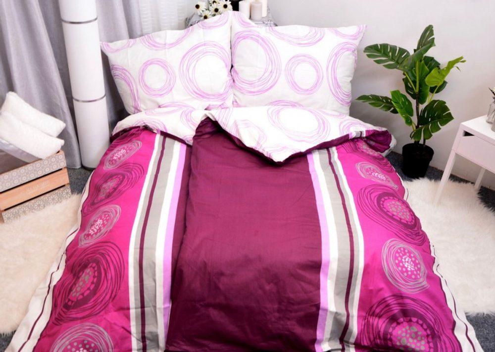 Bavlnené obliečky 140x200, 70x90 - Fanny fialová