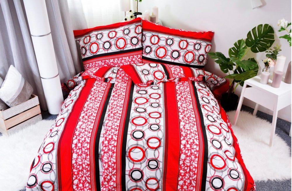 Bavlnené obliečky 140x200, 70x90 - Red circles