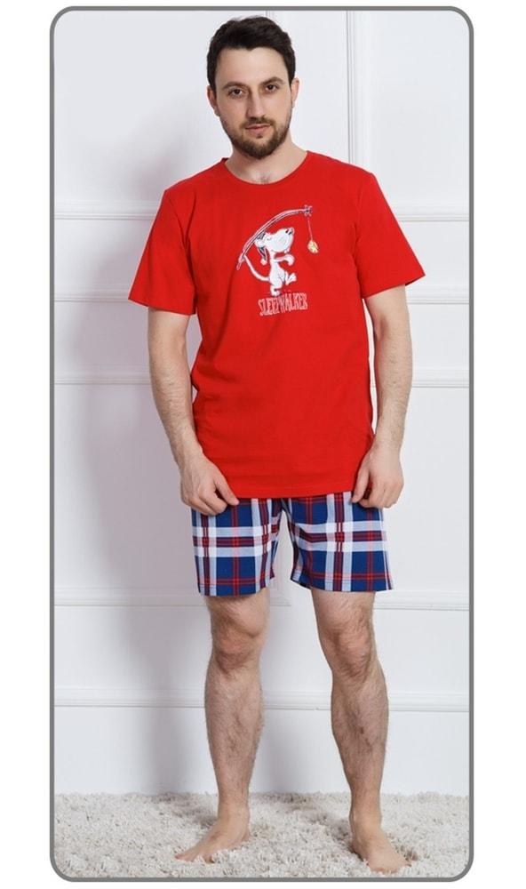 Pánské pyžamo šortky Sleepwalker - červená; 3XL