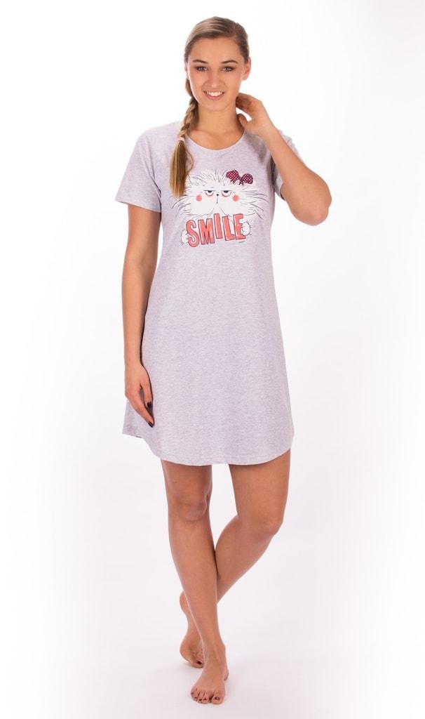 07f1b46f59ce Bedario.sk - Dámska nočná košeľa s krátkym rukávom Mačka Smile ...