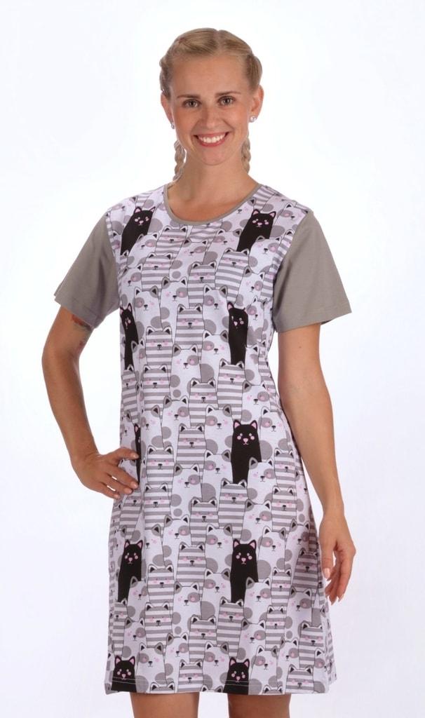 637883b60f2e Bedario.sk - Dámska nočná košeľa s krátkym rukávom Čierna mačka ...
