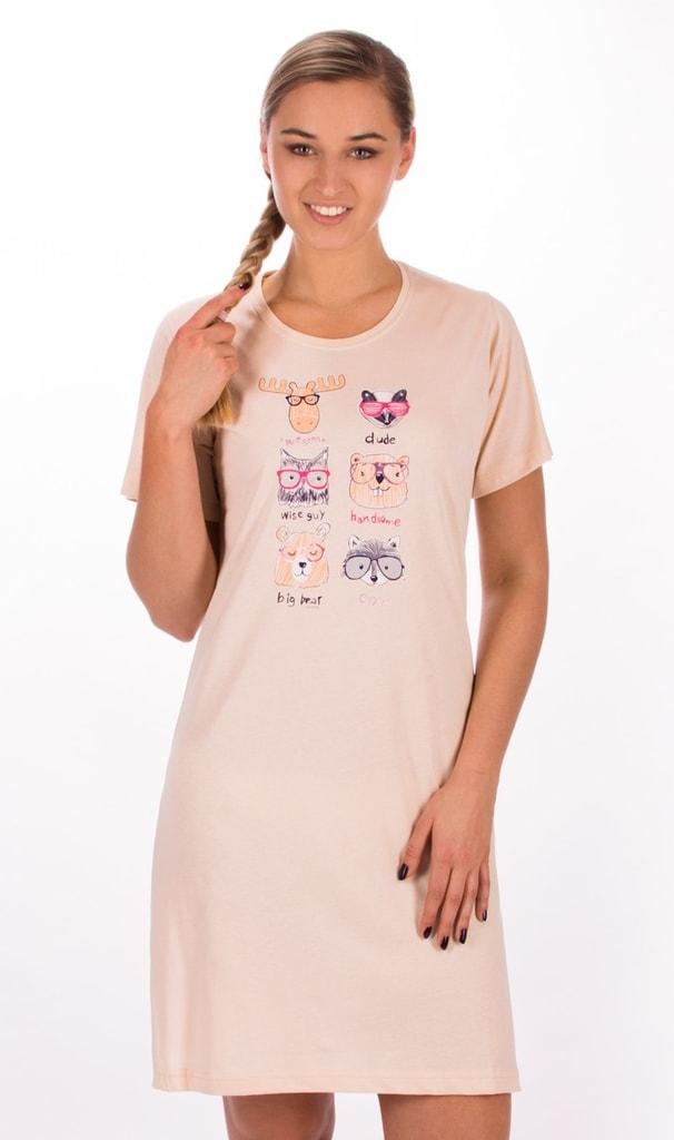 1bbf649e0958 Bedario.sk - Dámska nočná košeľa s krátkym rukávom Lesné zvieratá ...