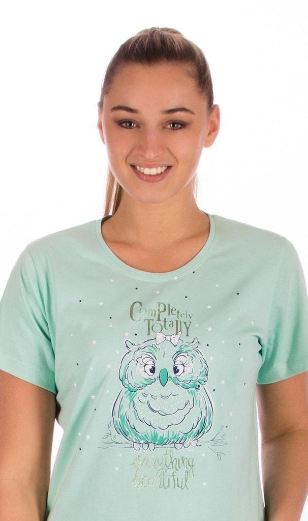 080f03955c03 Bedario.sk - Dámska nočná košeľa s krátkym rukávom Sova a hviezdy ...