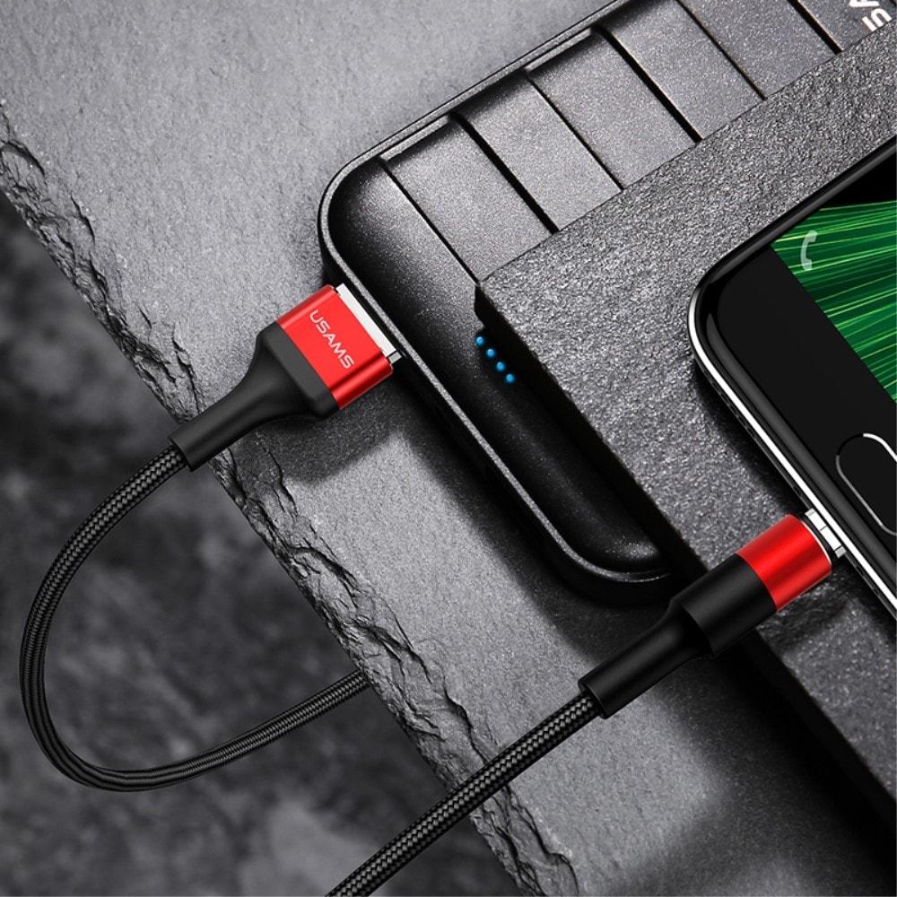 USAMS Woven Pattern Nabíjecí a datový kabel micro USB konektor pletený 2A červený red