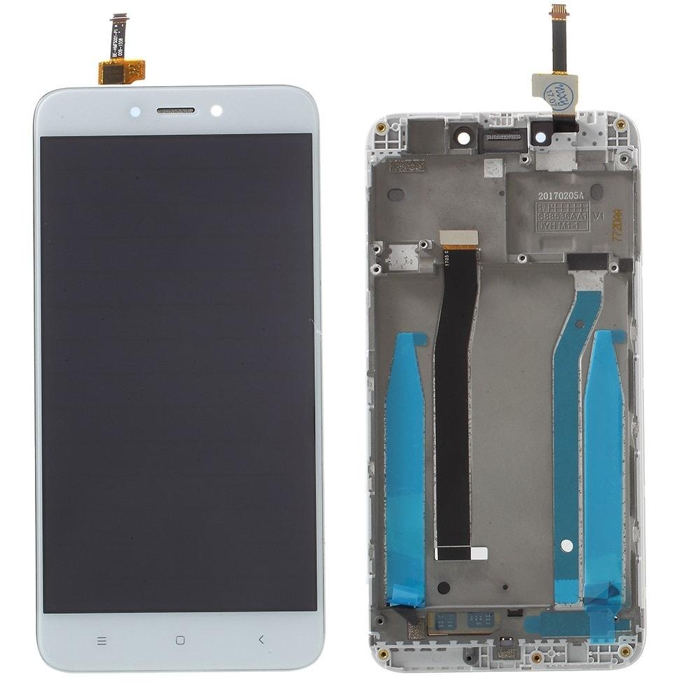Xiaomi Redmi 4X LCD displej dotykové sklo bílé včetně rámečku středního krytu
