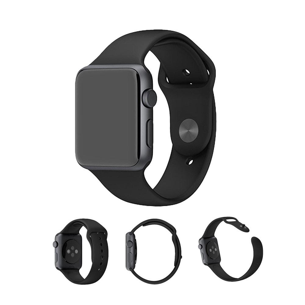 Apple Watch 42mm 44MM silikonový řemínek pásek černý