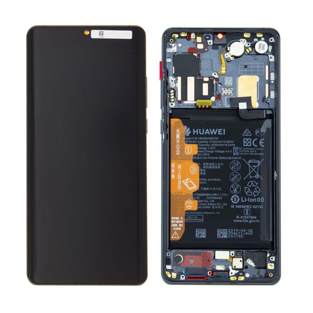 Huawei P30 Pro LCD displej dotykové sklo komplet přední panel včetně rámečku Black (Service Pack)
