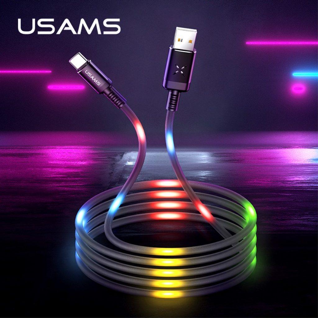 USAMS Nabíjecí a datový plochý kabel svítící černý USB C US-SJ287 U2 1m 2A