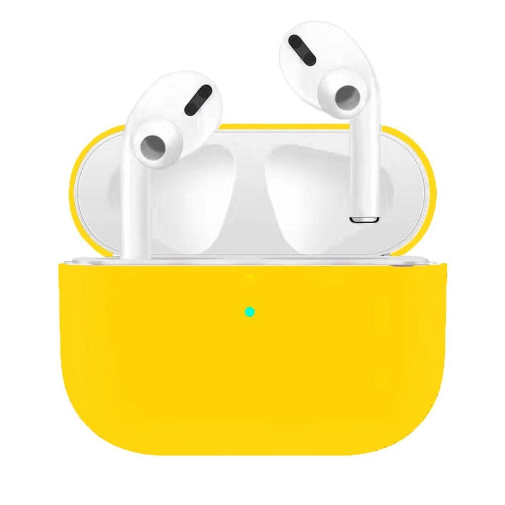 Apple Airpods Pro ochranný kryt silikonový obal na bezdrátová sluchátka žlutý
